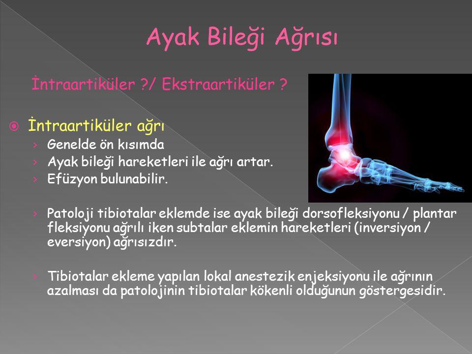 Ayak Bileği Ağrısı İntraartiküler / Ekstraartiküler