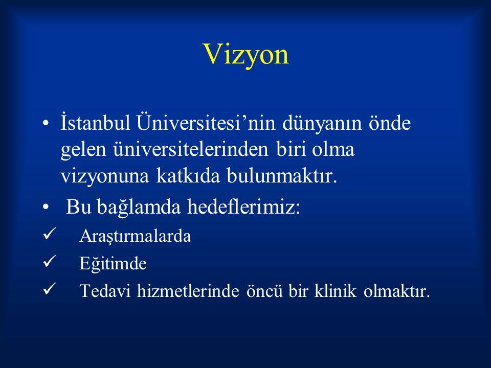 Vizyon İstanbul Üniversitesi'nin dünyanın önde gelen üniversitelerinden biri olma vizyonuna katkıda bulunmaktır.