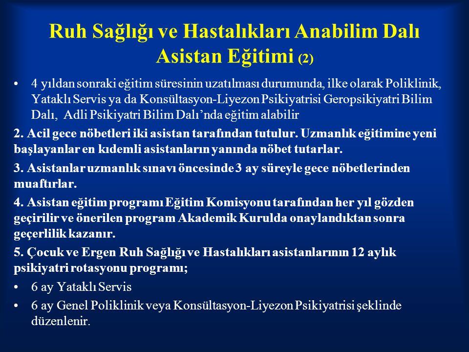 Ruh Sağlığı ve Hastalıkları Anabilim Dalı Asistan Eğitimi (2)