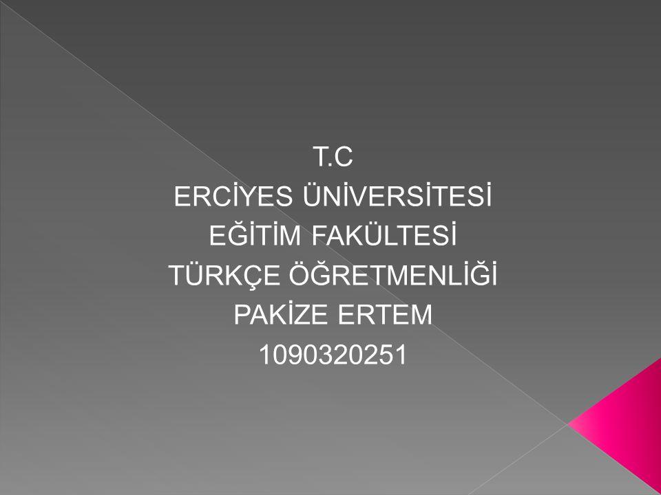 T.C ERCİYES ÜNİVERSİTESİ EĞİTİM FAKÜLTESİ TÜRKÇE ÖĞRETMENLİĞİ PAKİZE ERTEM 1090320251