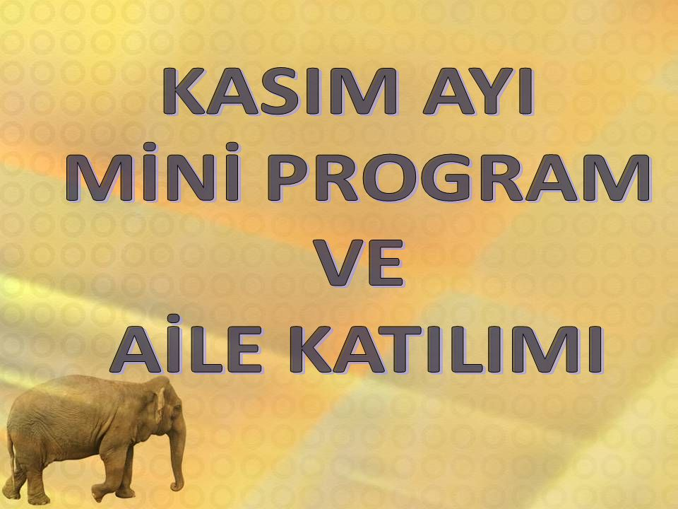 KASIM AYI MİNİ PROGRAM VE AİLE KATILIMI