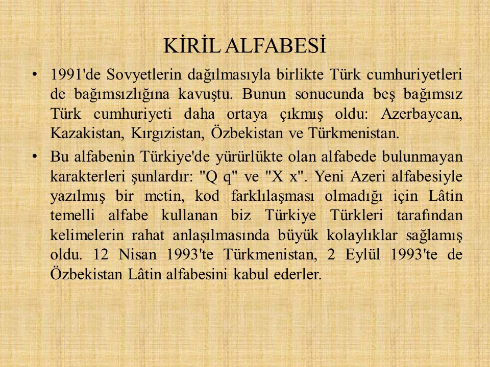KİRİL ALFABESİ