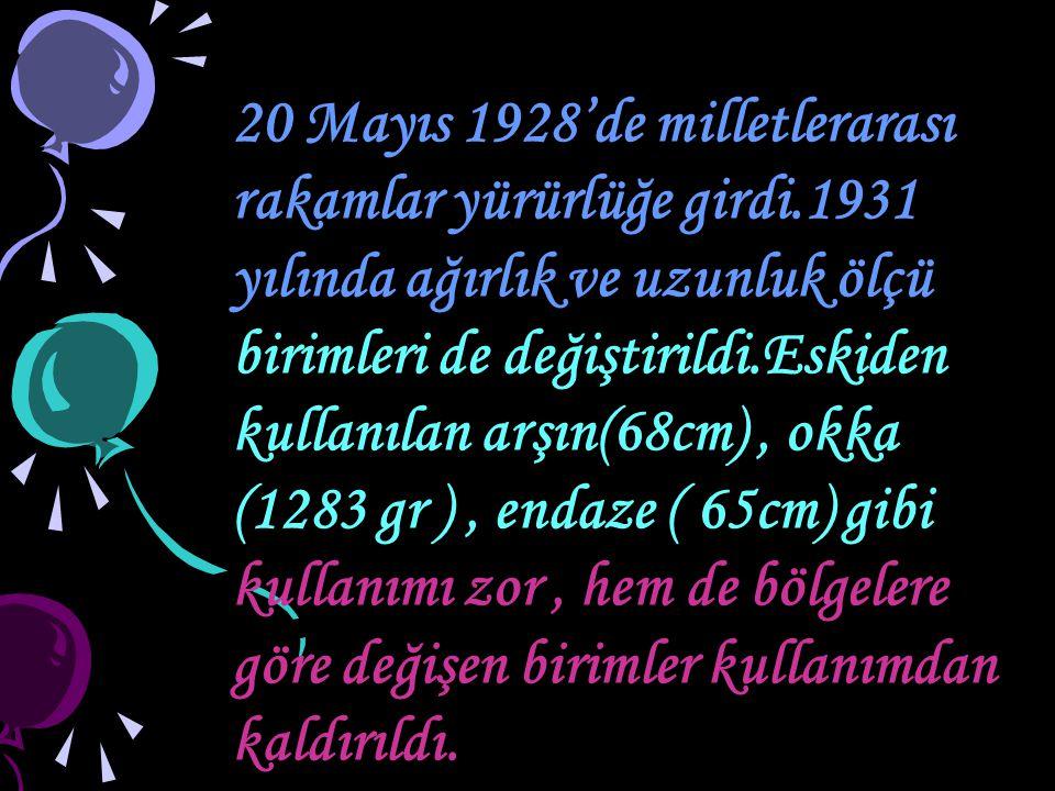 20 Mayıs 1928'de milletlerarası rakamlar yürürlüğe girdi