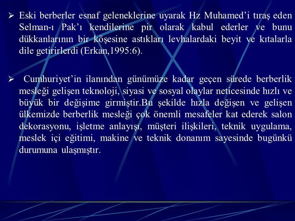 Eski berberler esnaf geleneklerine uyarak Hz Muhamed'i tıraş eden Selman-ı Pak'ı kendilerine pir olarak kabul ederler ve bunu dükkanlarının bir köşesine astıkları levhalardaki beyit ve kıtalarla dile getirirlerdi (Erkan,1995:6).