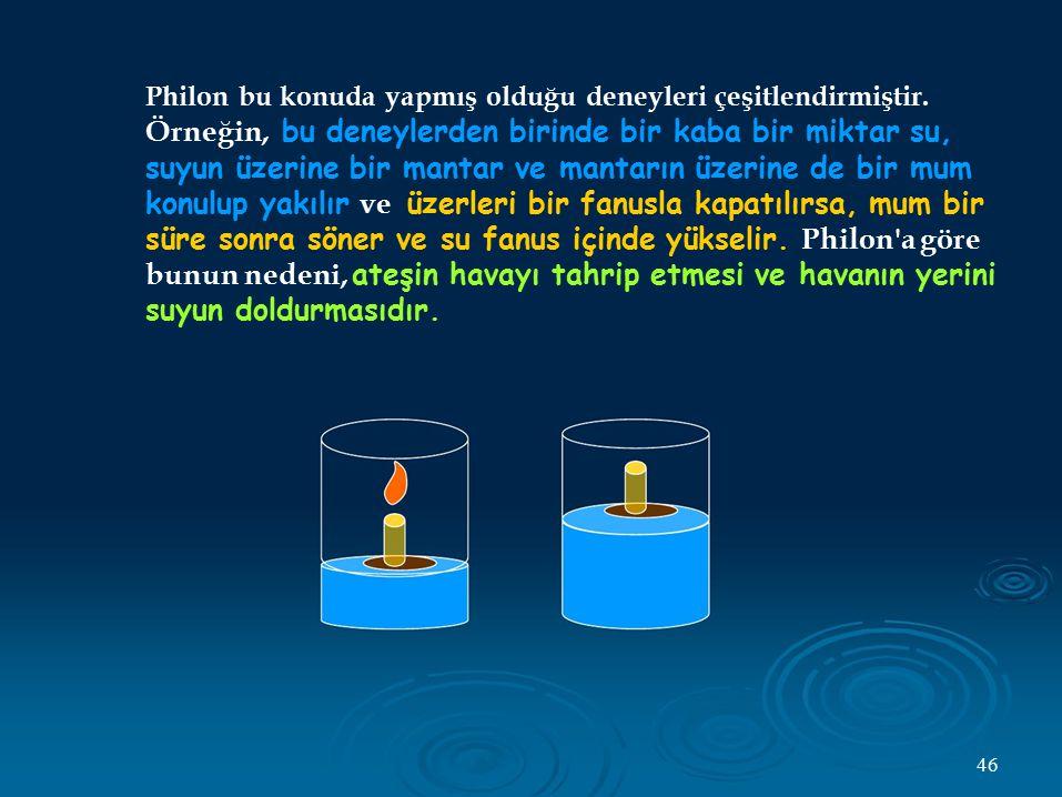 Philon bu konuda yapmış olduğu deneyleri çeşitlendirmiştir.
