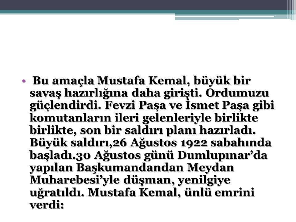 Bu amaçla Mustafa Kemal, büyük bir savaş hazırlığına daha girişti