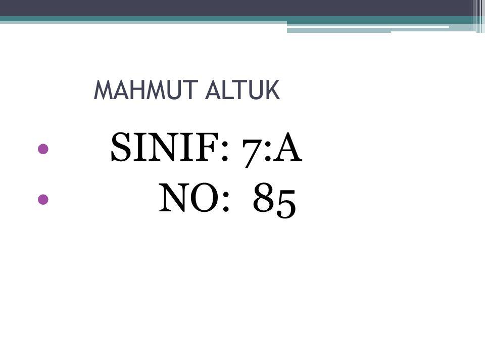 MAHMUT ALTUK SINIF: 7:A NO: 85