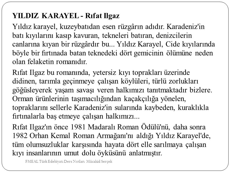 YILDIZ KARAYEL - Rıfat Ilgaz