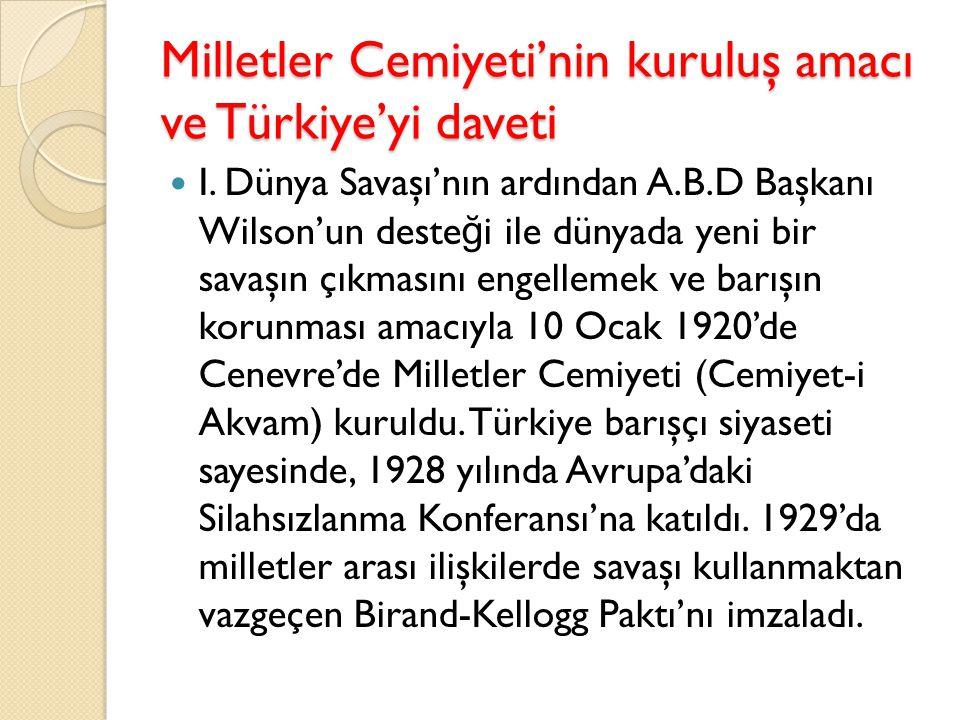 Milletler Cemiyeti'nin kuruluş amacı ve Türkiye'yi daveti