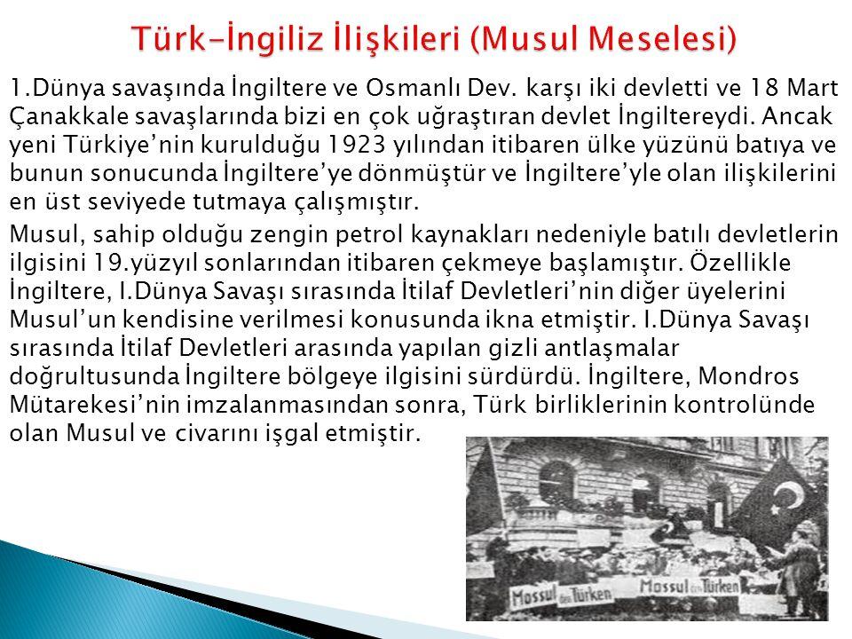 Türk-İngiliz İlişkileri (Musul Meselesi)