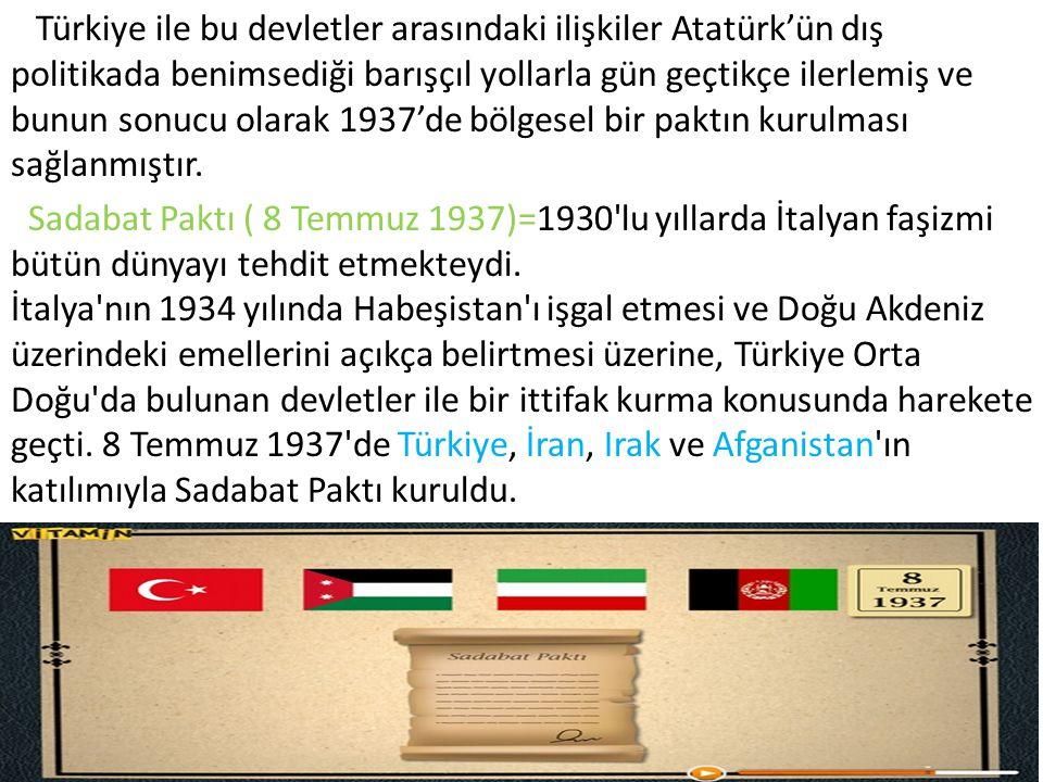 Türkiye ile bu devletler arasındaki ilişkiler Atatürk'ün dış politikada benimsediği barışçıl yollarla gün geçtikçe ilerlemiş ve bunun sonucu olarak 1937'de bölgesel bir paktın kurulması sağlanmıştır.
