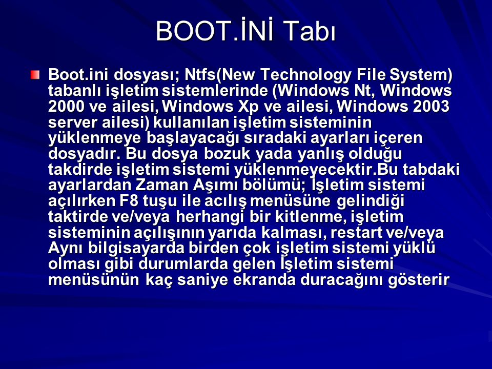 BOOT.İNİ Tabı