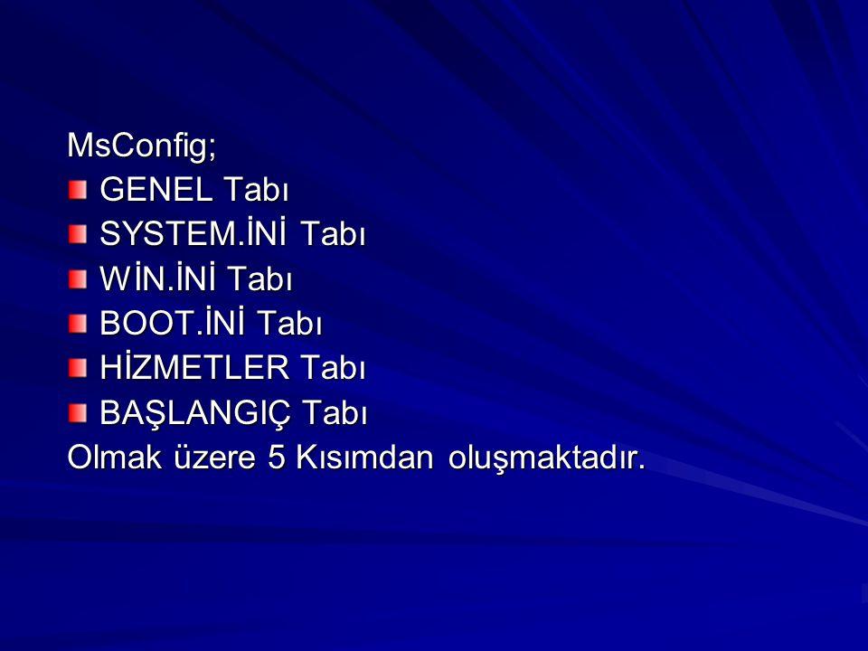 MsConfig; GENEL Tabı. SYSTEM.İNİ Tabı. WİN.İNİ Tabı. BOOT.İNİ Tabı. HİZMETLER Tabı. BAŞLANGIÇ Tabı.