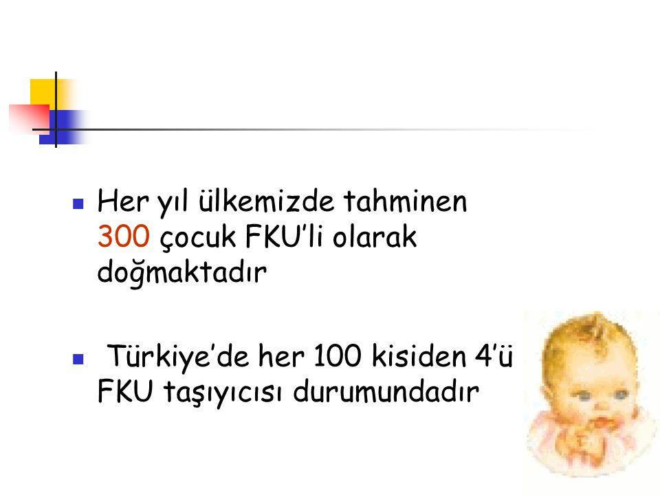 Her yıl ülkemizde tahminen 300 çocuk FKU'li olarak doğmaktadır