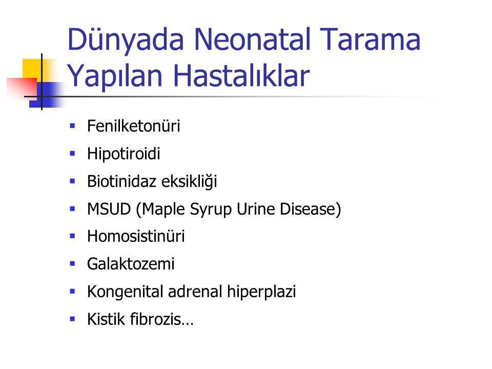 Dünyada Neonatal Tarama Yapılan Hastalıklar