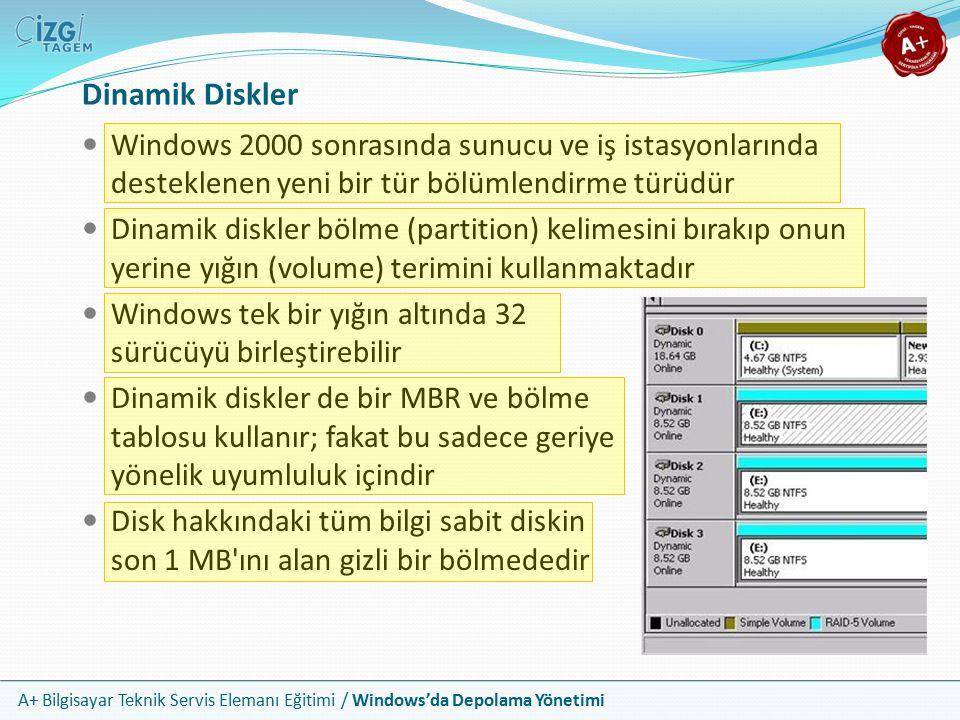 Dinamik Diskler Windows 2000 sonrasında sunucu ve iş istasyonlarında desteklenen yeni bir tür bölümlendirme türüdür.