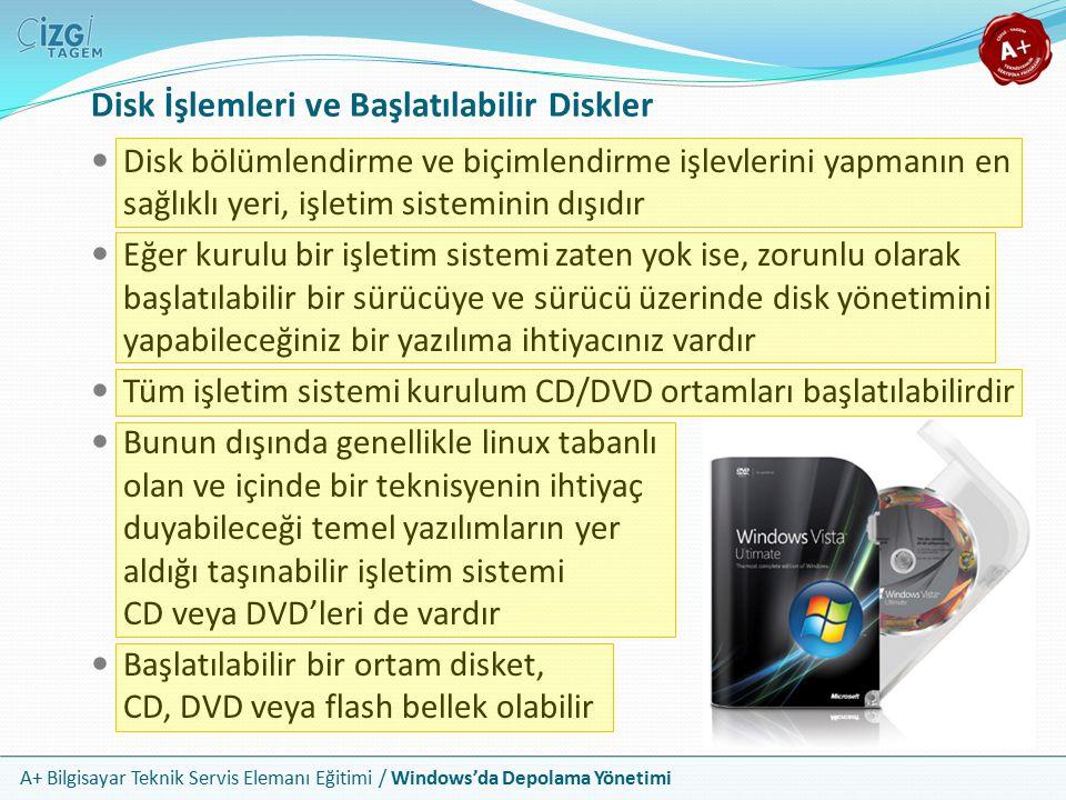 Disk İşlemleri ve Başlatılabilir Diskler