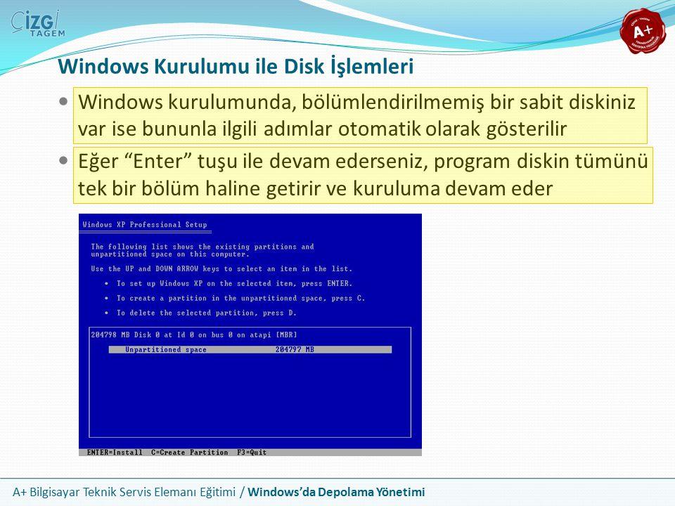 Windows Kurulumu ile Disk İşlemleri