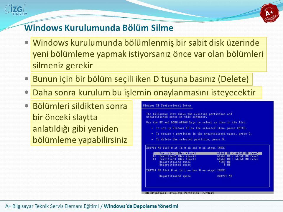 Windows Kurulumunda Bölüm Silme