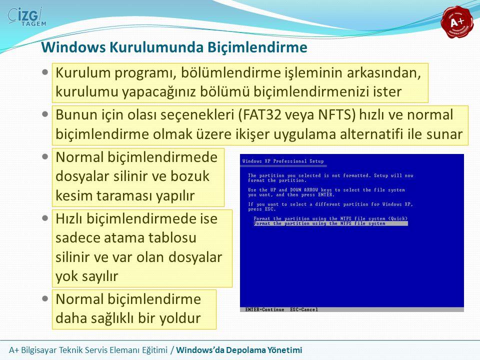 Windows Kurulumunda Biçimlendirme