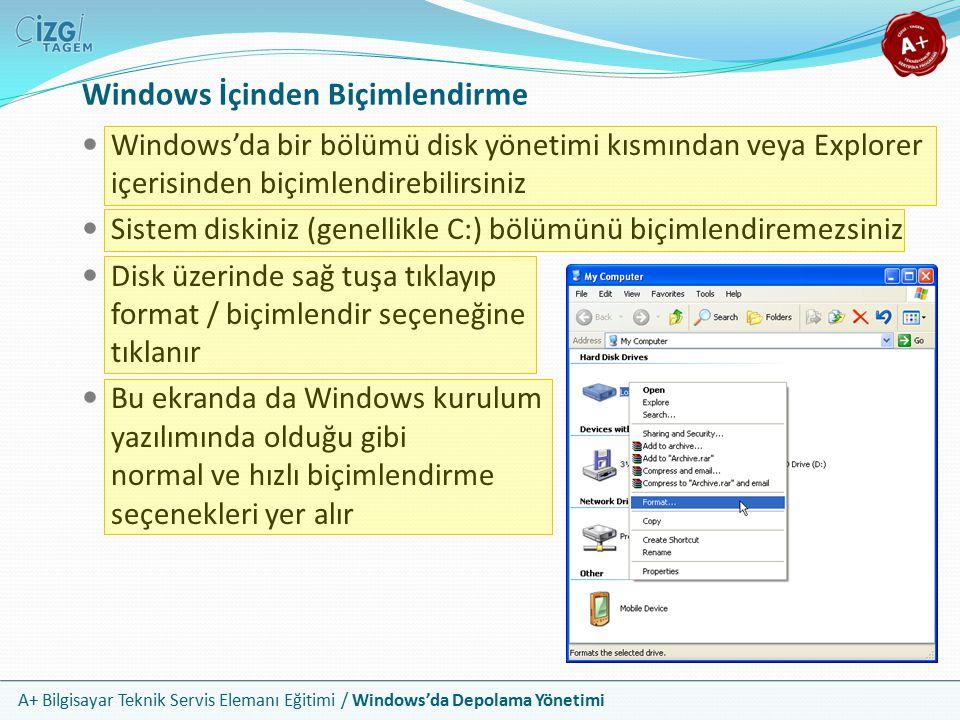 Windows İçinden Biçimlendirme