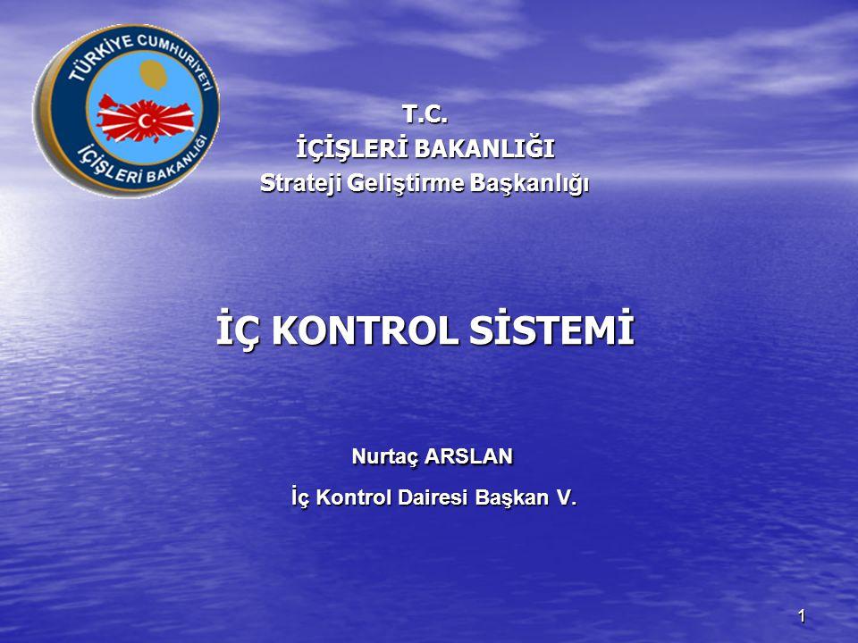 T.C. İÇİŞLERİ BAKANLIĞI Strateji Geliştirme Başkanlığı İÇ KONTROL SİSTEMİ Nurtaç ARSLAN İç Kontrol Dairesi Başkan V.