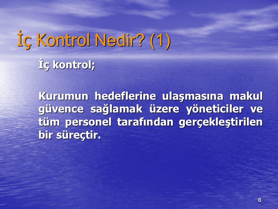 İç Kontrol Nedir (1) İç kontrol;