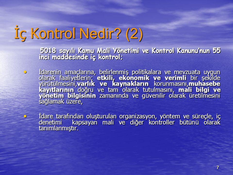 İç Kontrol Nedir (2) 5018 sayılı Kamu Mali Yönetimi ve Kontrol Kanunu'nun 55 inci maddesinde iç kontrol;