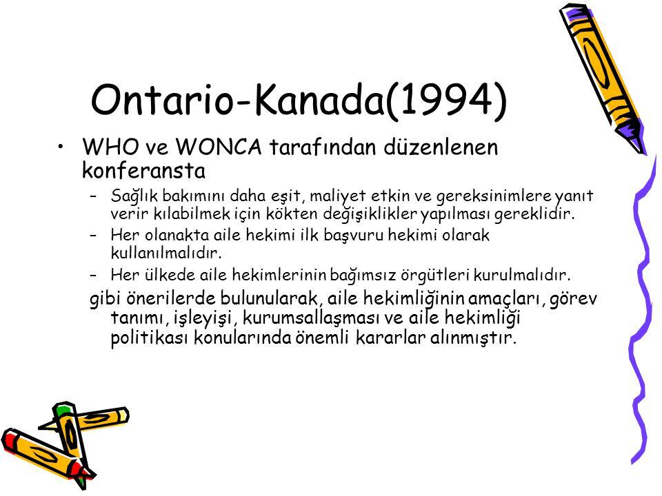 Ontario-Kanada(1994) WHO ve WONCA tarafından düzenlenen konferansta