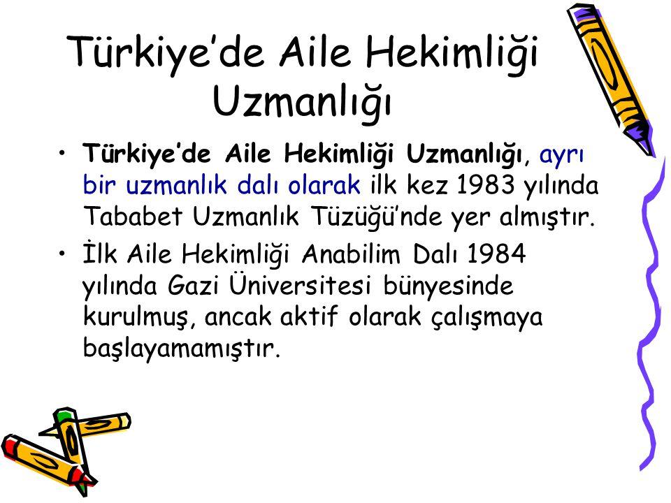 Türkiye'de Aile Hekimliği Uzmanlığı