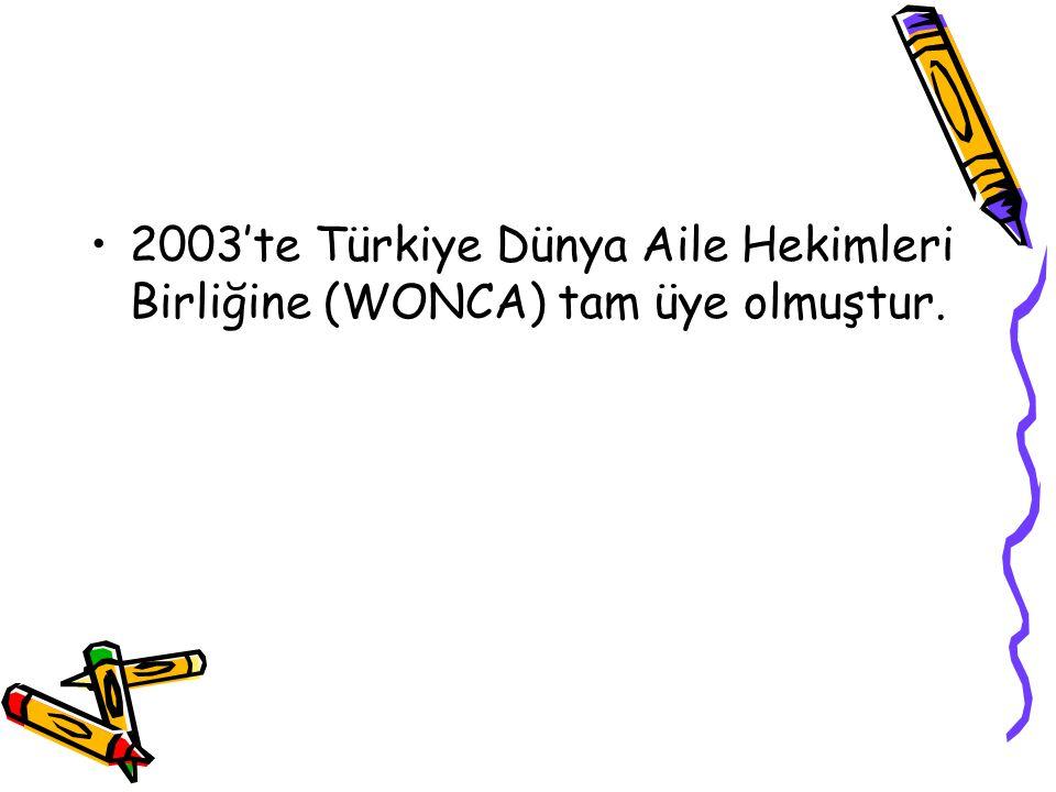 2003'te Türkiye Dünya Aile Hekimleri Birliğine (WONCA) tam üye olmuştur.