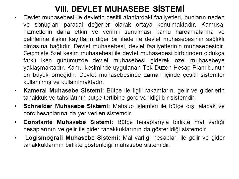VIII. DEVLET MUHASEBE SİSTEMİ