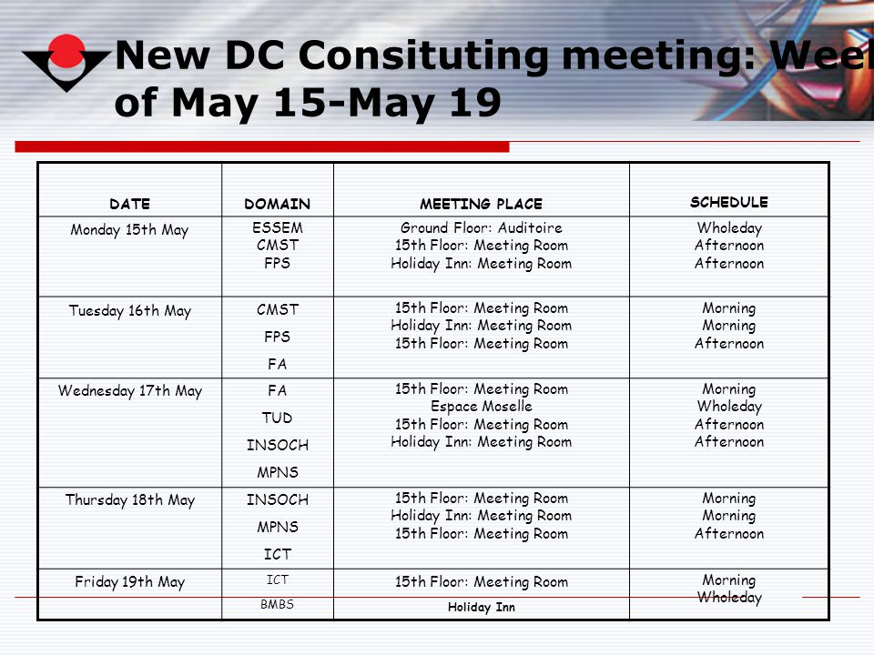 New DC Consituting meeting: Week of May 15-May 19