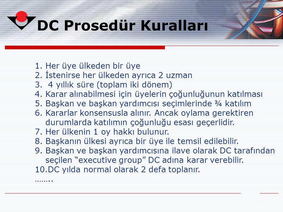DC Prosedür Kuralları Her üye ülkeden bir üye