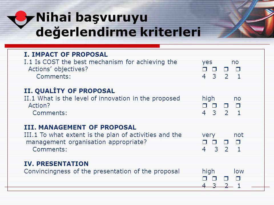 Nihai başvuruyu değerlendirme kriterleri