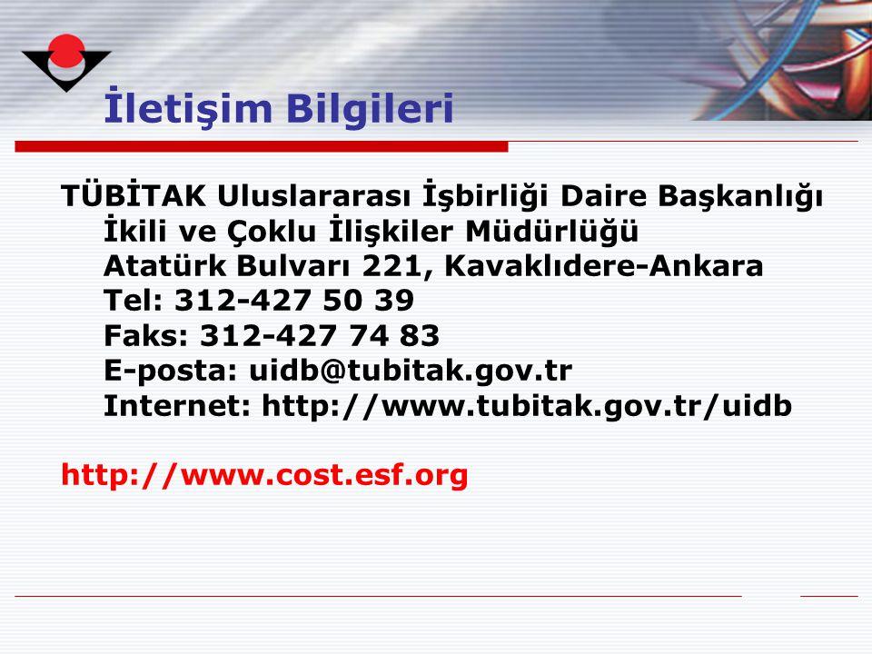 İletişim Bilgileri TÜBİTAK Uluslararası İşbirliği Daire Başkanlığı