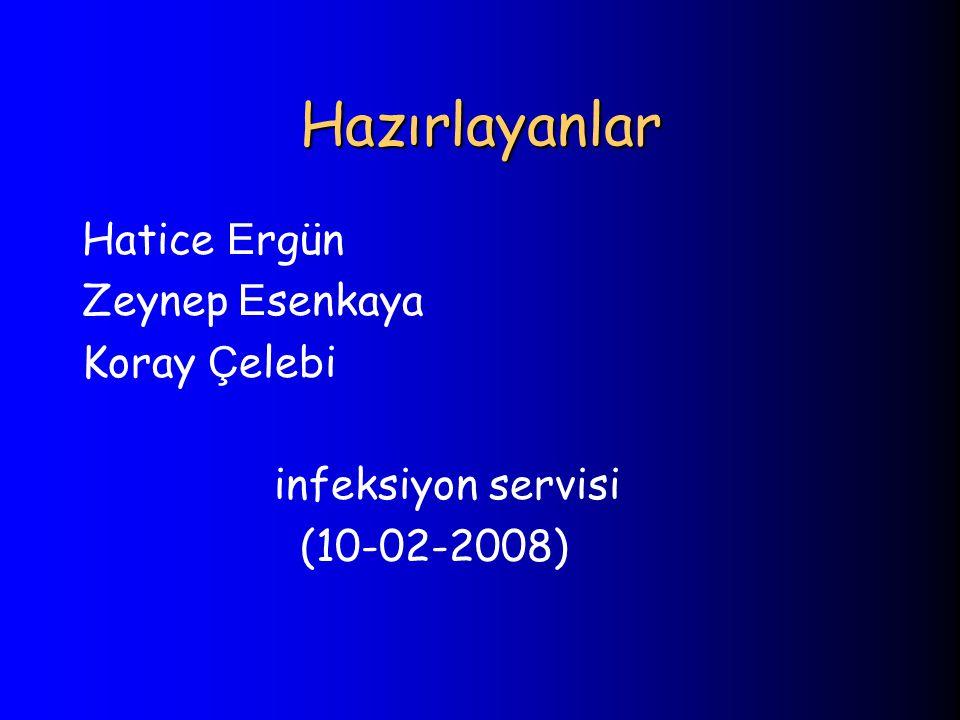 Hazırlayanlar Hatice Ergün Zeynep Esenkaya Koray Çelebi infeksiyon servisi (10-02-2008)
