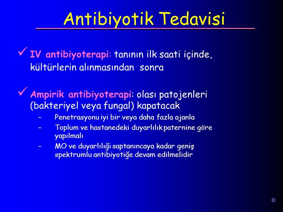 Antibiyotik Tedavisi IV antibiyoterapi: tanının ilk saati içinde, kültürlerin alınmasından sonra.