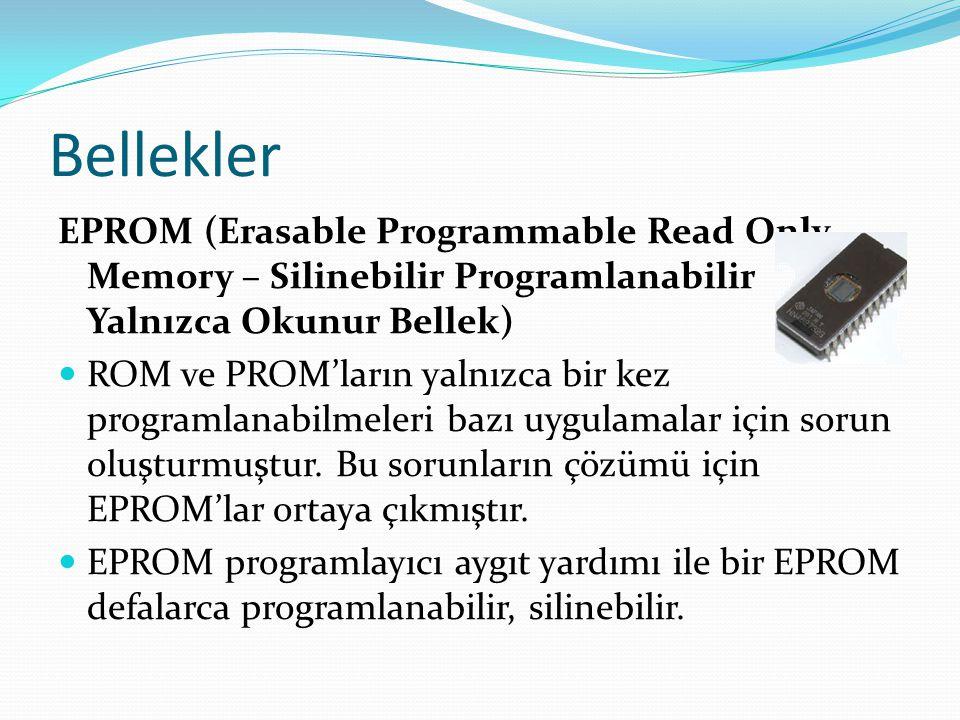 Bellekler EPROM (Erasable Programmable Read Only Memory – Silinebilir Programlanabilir Yalnızca Okunur Bellek)