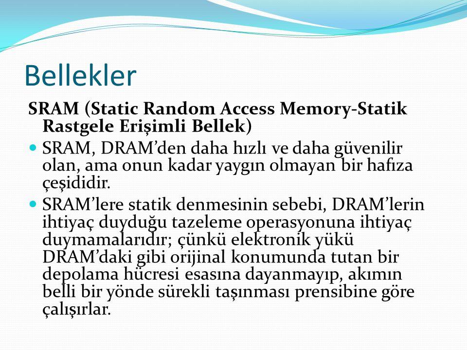 Bellekler SRAM (Static Random Access Memory-Statik Rastgele Erişimli Bellek)