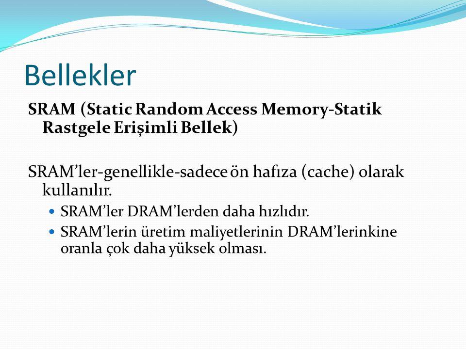Bellekler SRAM (Static Random Access Memory-Statik Rastgele Erişimli Bellek) SRAM'ler-genellikle-sadece ön hafıza (cache) olarak kullanılır.