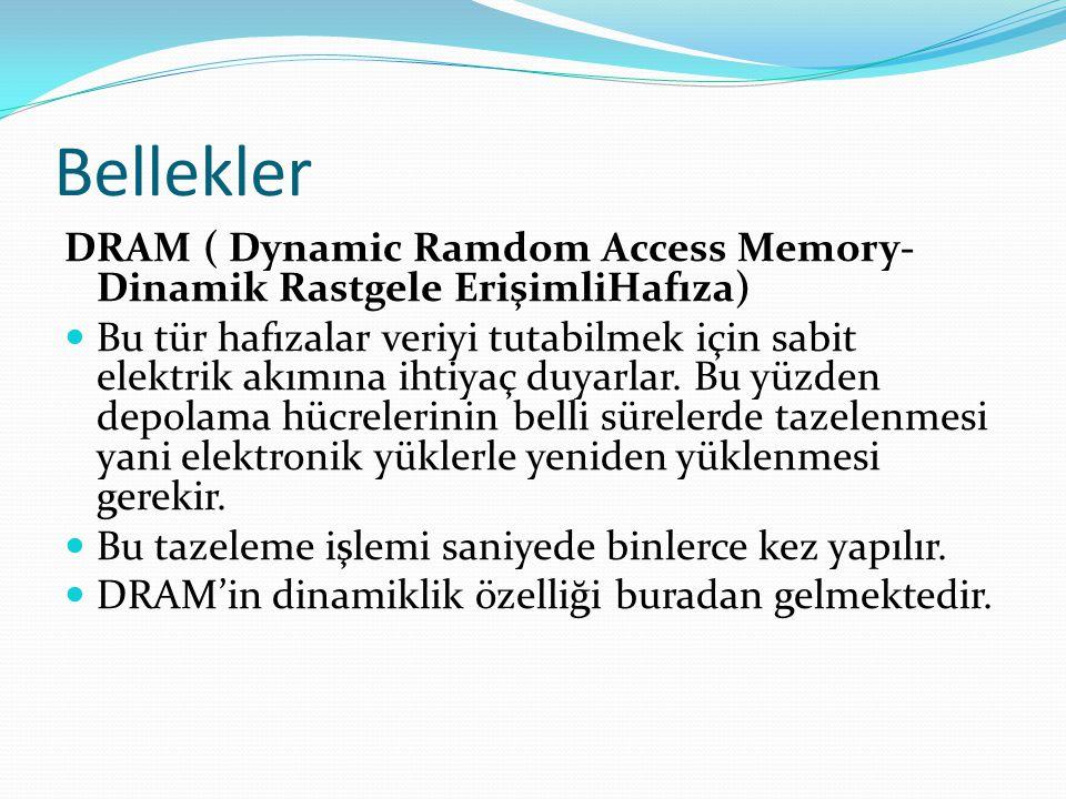 Bellekler DRAM ( Dynamic Ramdom Access Memory-Dinamik Rastgele ErişimliHafıza)