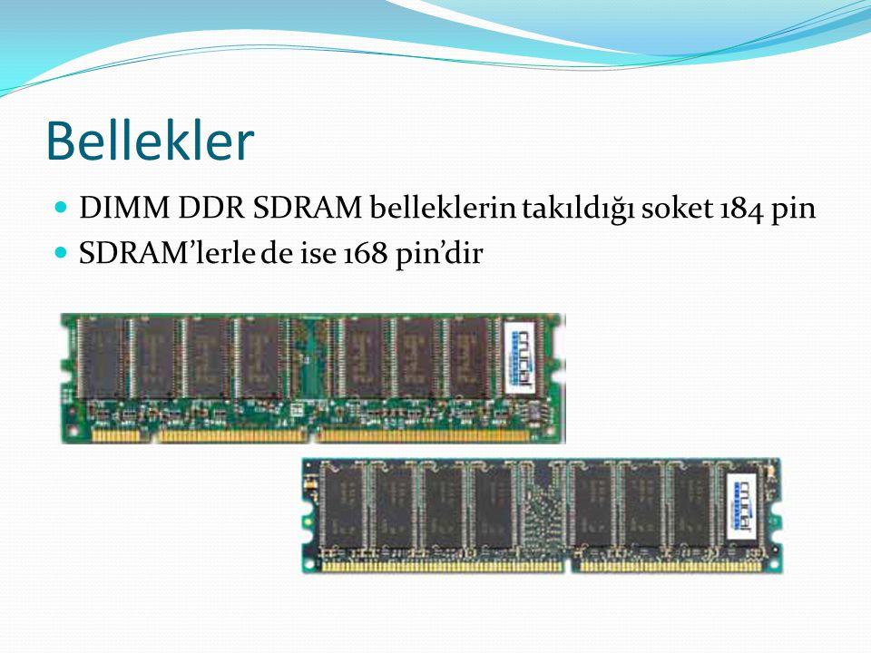Bellekler DIMM DDR SDRAM belleklerin takıldığı soket 184 pin
