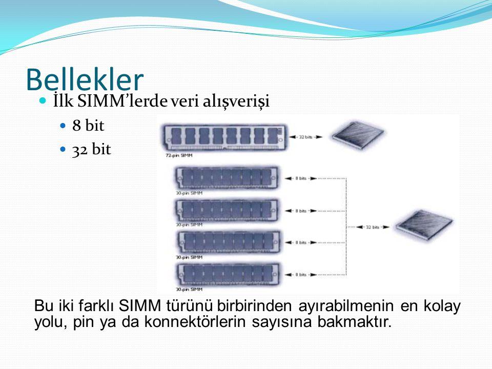 Bellekler İlk SIMM'lerde veri alışverişi 8 bit 32 bit