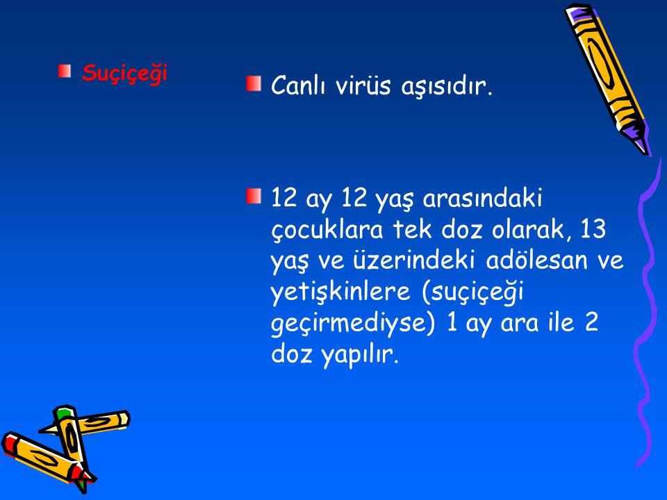 Suçiçeği Canlı virüs aşısıdır.