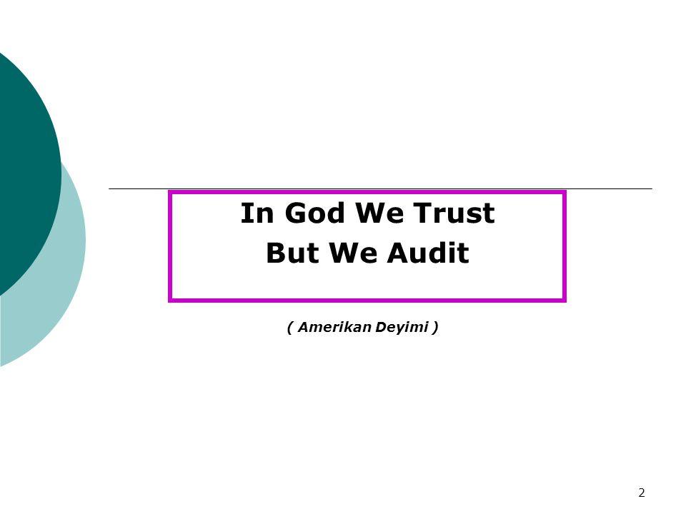 In God We Trust But We Audit
