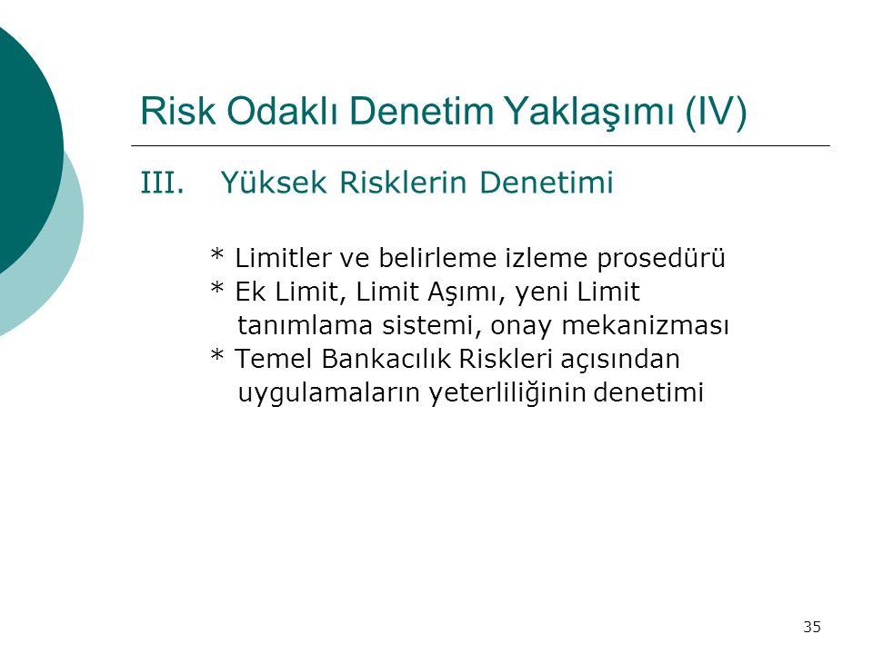 Risk Odaklı Denetim Yaklaşımı (IV)