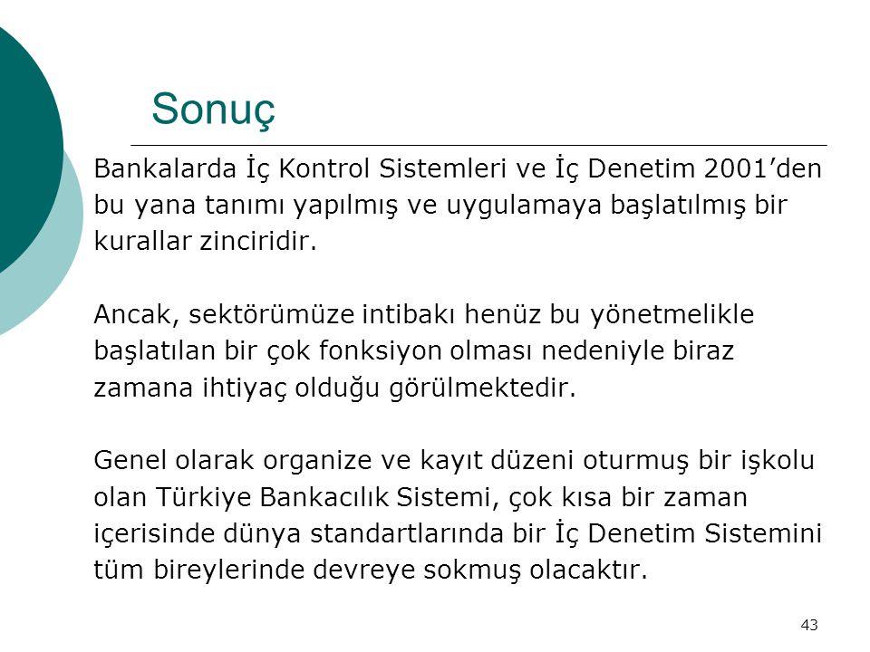 Sonuç Bankalarda İç Kontrol Sistemleri ve İç Denetim 2001'den