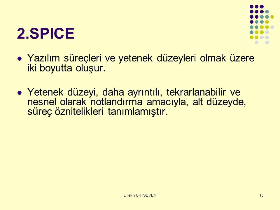 2.SPICE Yazılım süreçleri ve yetenek düzeyleri olmak üzere iki boyutta oluşur.