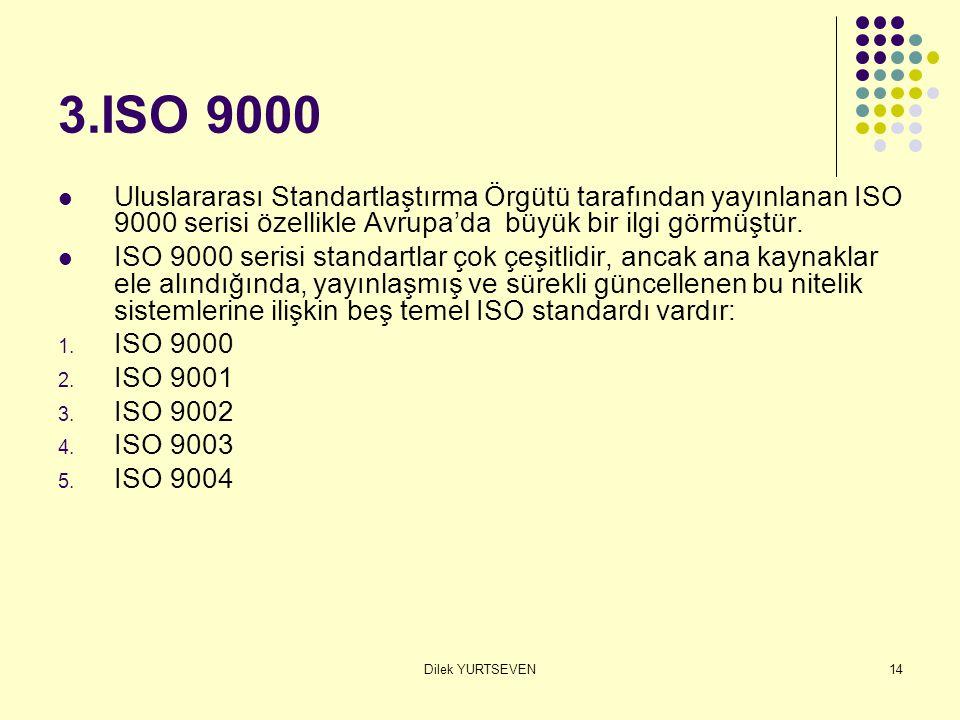 3.ISO 9000 Uluslararası Standartlaştırma Örgütü tarafından yayınlanan ISO 9000 serisi özellikle Avrupa'da büyük bir ilgi görmüştür.